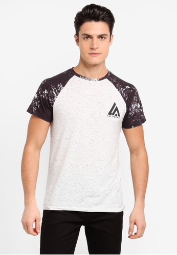 Burton Menswear London black Ecru And Black Floral Raglan T-Shirt E00D1AABD4DA1BGS_1