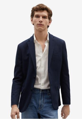 MANGO Man blue Slim-Fit Textured Blazer A4E3AAA1FC6035GS_1