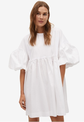 Mango white Puffed Sleeves Cotton Dress 86136AA6DA7352GS_1