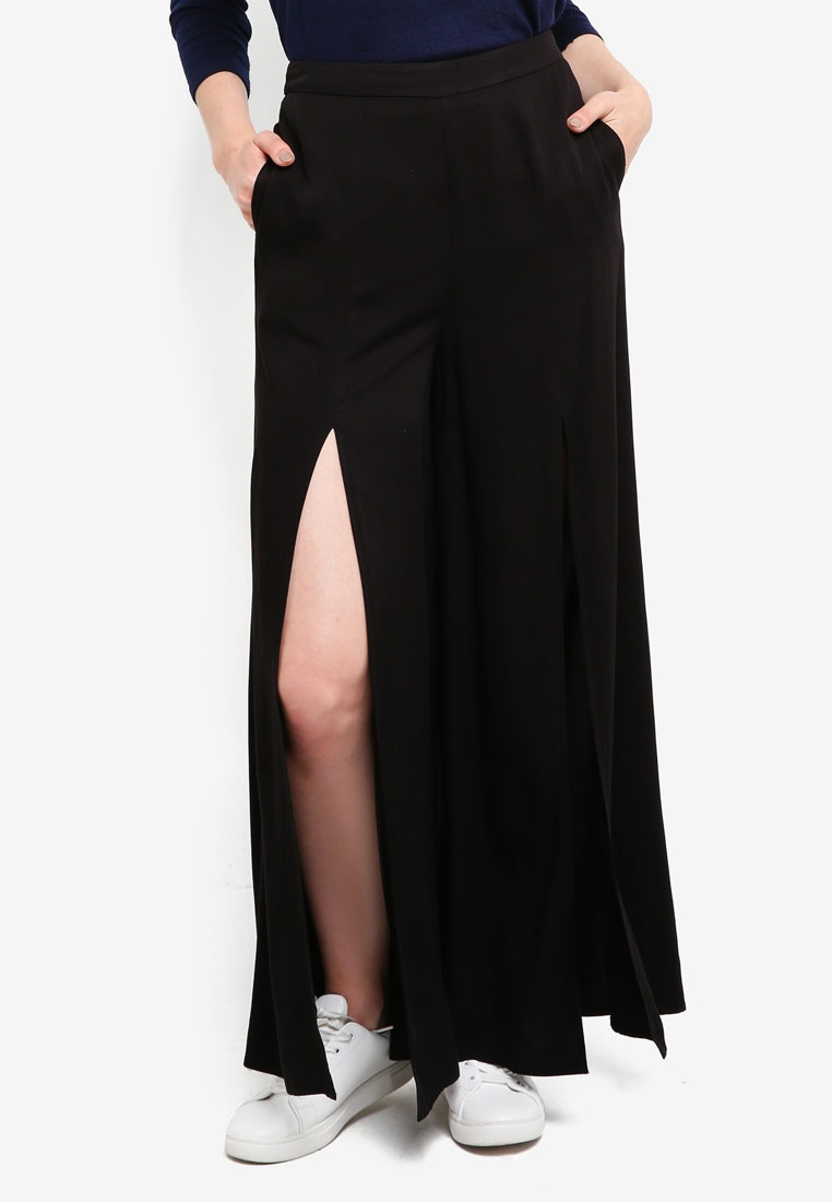 Palazzo Pants Something Borrowed Slit Black Front qnxFpSB