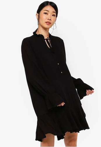 Something Borrowed black Long Sleeves Fluted Hem Dress B9744AA265A76CGS_1