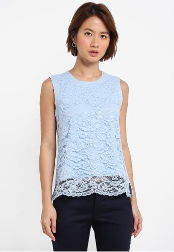ZALORA blue Lace Top 86379AAD268ADEGS_1