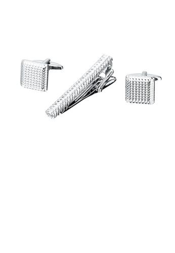 Glamorousky silver Fashion Simple Texture Geometric Tie Clip and Cufflinks Set 494BFAC5F85F2AGS_1