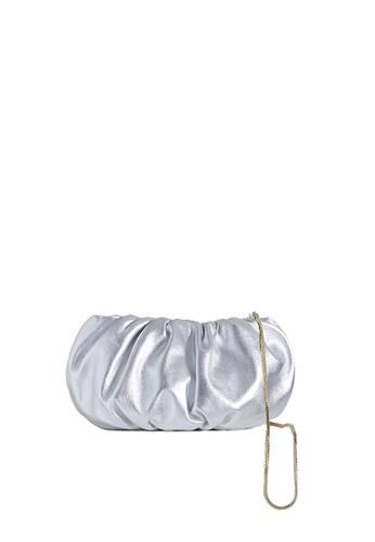 "LINGWU multi and silver LINGWU Bubble 10"" Silver Foil clutch bag 103FBACF5FFF08GS_1"