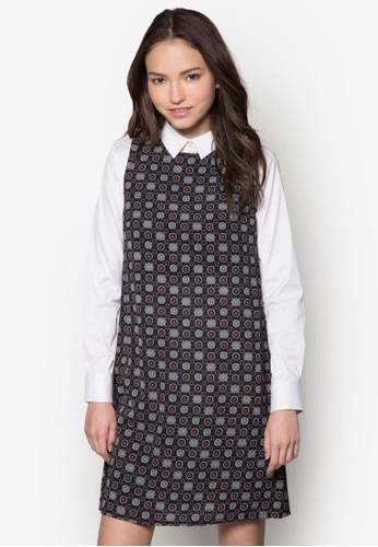 Faesprit台灣門市rrah 印花拼接長袖連身裙, 服飾, 服飾