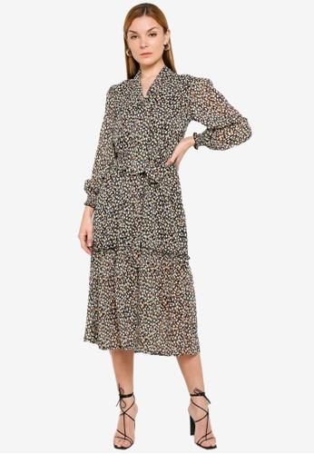 Miss Selfridge brown Ditsy Print Tie Neck Smock Dress 1BCE7AAA8B5842GS_1