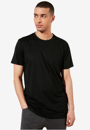Trendyol black Basic Crew Neck Longline T-Shirt 2C0B0AAE7EA863GS_1