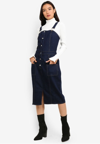 presenting new arrivals authentic quality Denim Midi Pinafore Dress