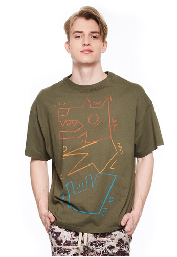 United Colors of Benetton green Printed T-shirt. A5C0CAA6738B5FGS_1