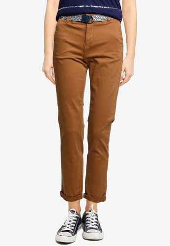Springfield brown Belted Chino Trousers C59ADAA9884A5DGS_1