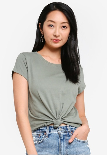 ABERCROMBIE & FITCH green Knotted Midi Top 389FAAADEEB33DGS_1
