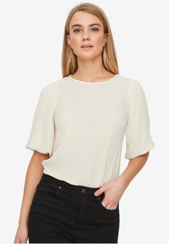 Vero Moda beige Isabella Short Sleeve Top F6CC8AA7BC94B3GS_1