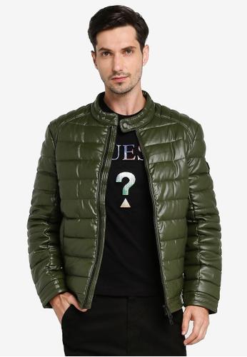 GUESS green Stretch Eco Pu Puffa Jacket 52579AA9E8B37EGS_1