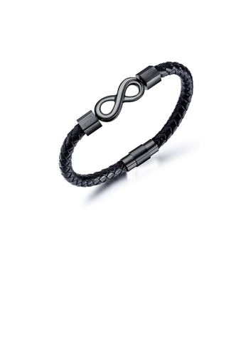 Glamorousky silver Simple Personality Plated Black 316L Stainless Steel Infinity Symbol Braided Leather Bracelet 9100BAC17D0005GS_1