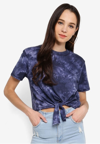 Cotton On navy Candy Chopped Tie Front Tee F2F60AAF3B01A7GS_1