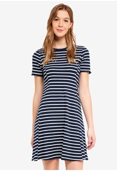 f2ffbeb2e4a Dorothy Perkins navy Navy And White Ribbed Dress 8D5F3AAD3022ADGS 1