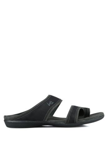 Louis Cuppers black Men's Double Strap Sandals LO977SH0S9SEMY_1