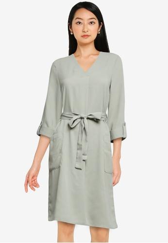 ZALORA BASICS green Double Breasted Dress 7F5C4AA263D5AFGS_1