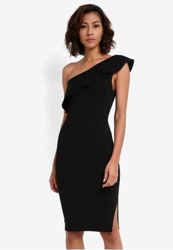 MISSGUIDED black One Shoulder Frill Detail Mini Dress 54E6CAA292F018GS_1