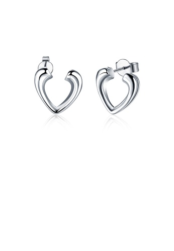 Glamorousky silver Simple and Fashion Heart Shaped Stud Earrings AB12BACC32FD3FGS_1
