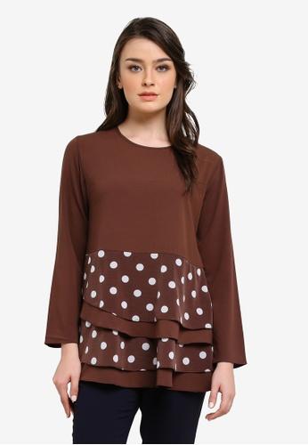 Aqeela Muslimah Wear brown Qhalisha Empire Layered Top AQ371AA0SEHQMY_1