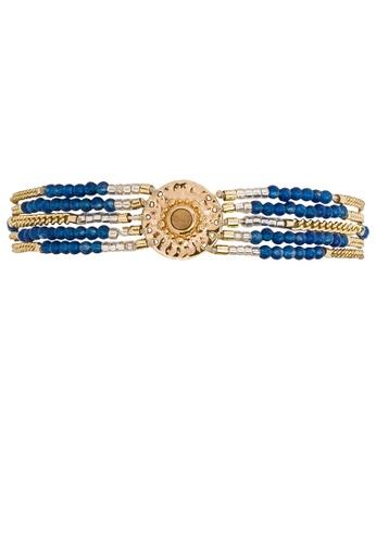 HIPANEMA blue and multi and gold Multi chains beaded bracelet Shogun blue 848D6AC7571285GS_1