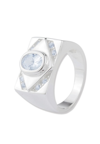 SC Tom Silver silver Diamond Shape Men's Ring with Stone- TRSM017 SC872AC46FQNPH_1