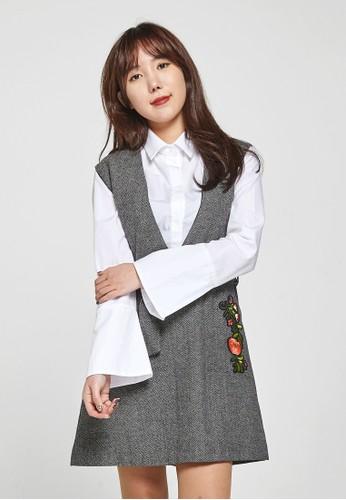 韓流時尚 波點蝴蝶結迷笛esprit官網連衣裙 F4018, 服飾, 洋裝