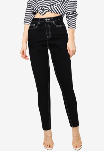 MISSGUIDED black Mg X Assets Contrast Stitch Sinner Jeans 33C69AA5D4D43EGS_1