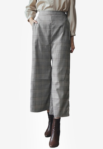 Yoco grey Wide Leg Plaid Culottes 5B9DBAA5FFAC25GS_1