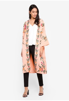 a6a0bcb5da 60% OFF TOPSHOP Pink Floral Embroidered Longline Kimono S  169.00 NOW S   67.90 Sizes 8 10 14