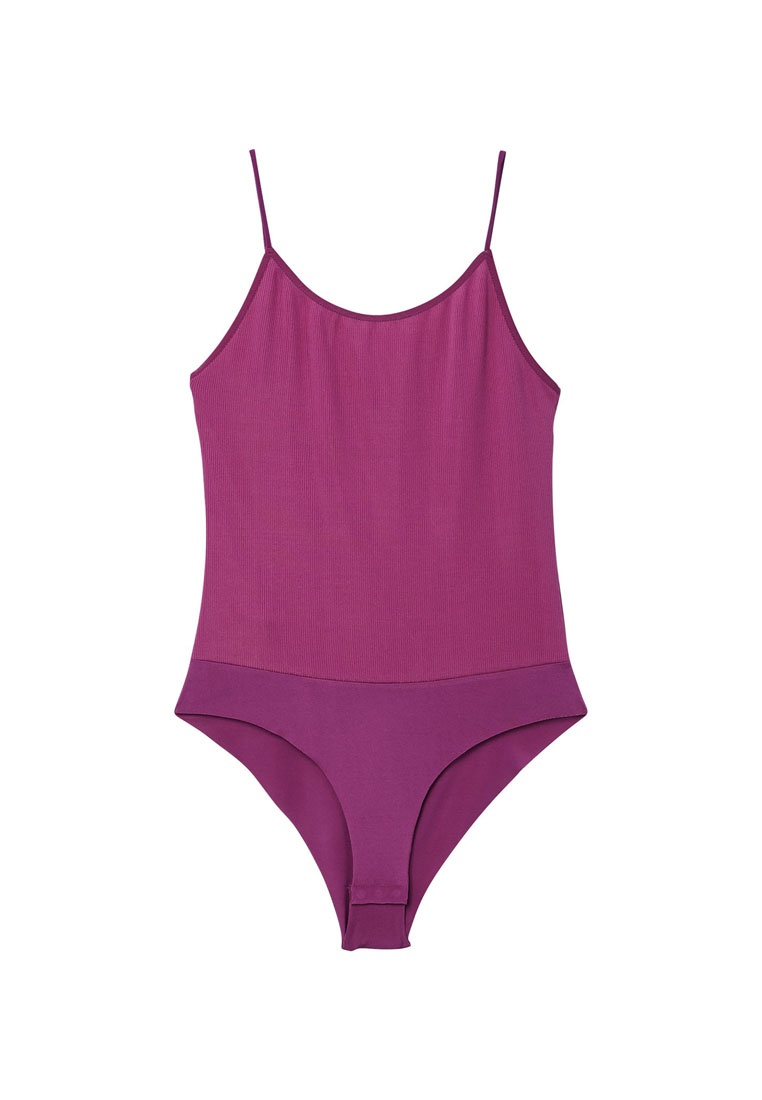 Purple Bodysuit Medium Mango Ribbed Ribbed Mango zUnSqUX