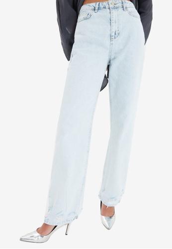Trendyol blue Ripped Wide Leg Jeans 49346AA84E41F8GS_1