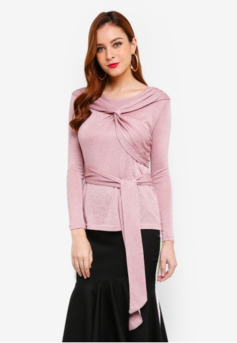 Lubna pink Tied Up Top DC5B4AA3B927DCGS_1