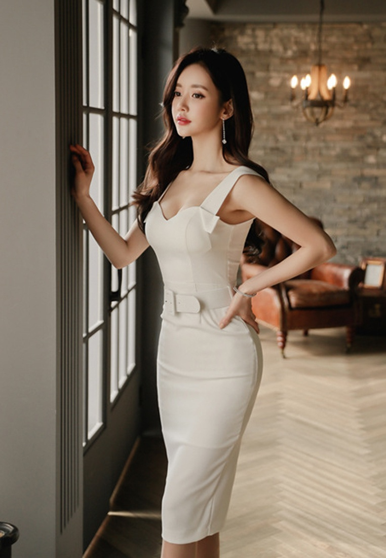 Sunnydaysweety CA041807 Sleeveless S New Dress White 2018 One Piece S White Sweetheart zBwqvv
