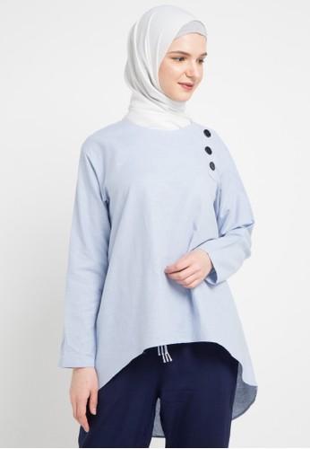 ZAHRA SIGNATURE blue L/S Linen Blouse Buttons F884AAA9BD4009GS_1