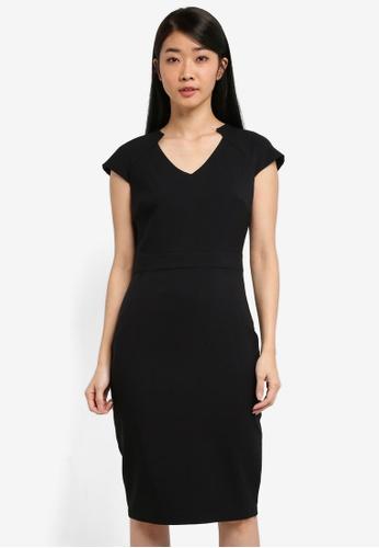 Dorothy Perkins black Black V-Neck Poly Dress 94C36AA8CA55E9GS_1