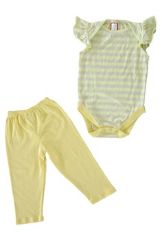Striped yellow and gray, flutter sleeve onesie with yellow leggings set