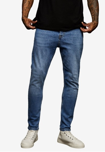 Topman blue Mid Wash Tapered Jeans 61C46AAF15129BGS_1