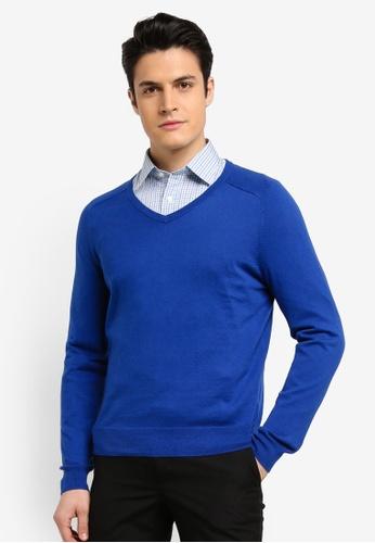 Brooks Brothers 藍色 喀什米爾V領羊毛衫 8D0F8AA3D99DA4GS_1