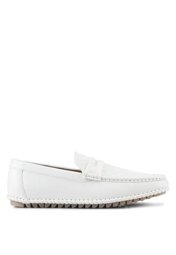 ZALORA white Faux Leather Perforated Classic Loafers 11E78SH69237EDGS_1