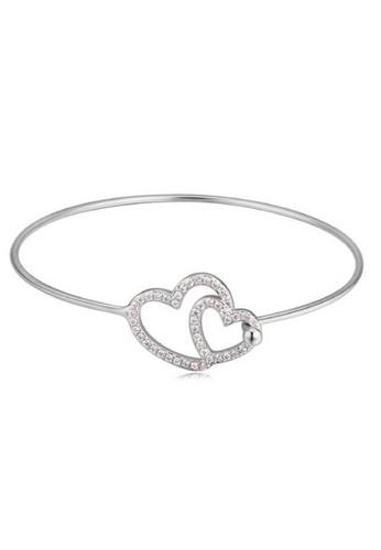 Vivere Rosse silver Tween Hearts Bangle - Silver VI014AC33FAOMY_1