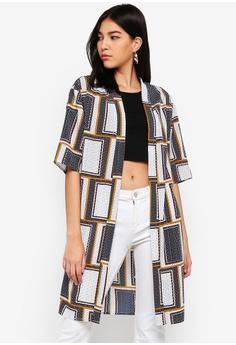 31527f6d54 ZALORA white and multi Longline Kimono 26200AA03282C7GS 1