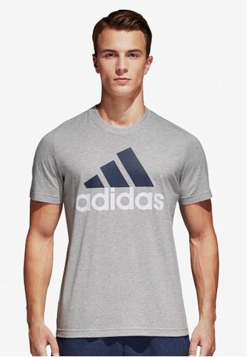 adidas grey adidas ess linear tee AD372AA0SUZ7MY_1