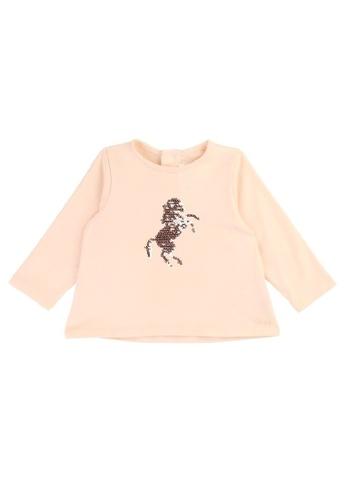 Chloé pink Chloé Baby Girls Long Sleeve T-Shirt with Chloé Embroidered Logo EB7BEKA53FA780GS_1