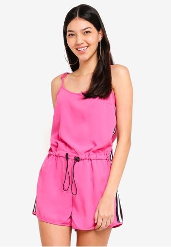 Factorie pink Stripe Side Playsuit 915E2AAD24818EGS_1