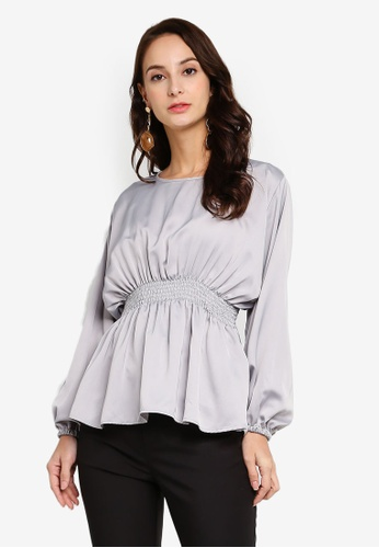 Iris Peplum Blouse from Fazboka in Grey