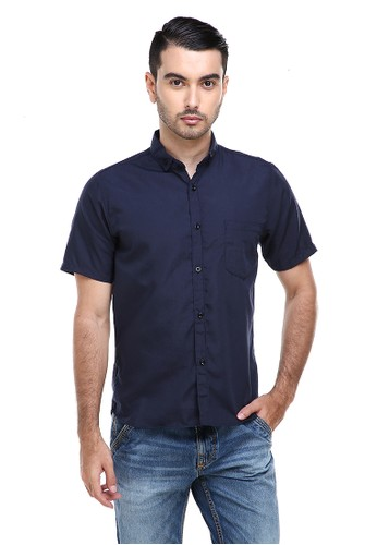 Hamlin navy Hamlin Dwan Casual Shirt Kemeja Polos Pria Lengan Pendek Kasual Formal Material Cotton ORIGINAL - Navy D5407AA4FE5CC9GS_1