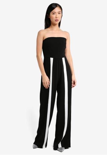 MISSGUIDED black Black Bandeau White Stripe Leg Jumpsuit C56F6AAC700248GS_1