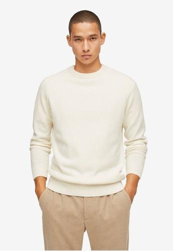 MANGO Man white Cashmere Wool Sweater FDFC5AA6A2A840GS_1